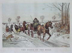The Fiend of the Road Currier & Ives 1881 Lithograph