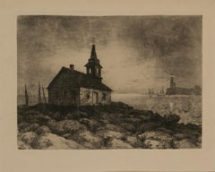 Etching with Lighthouse by M.M.Taylor