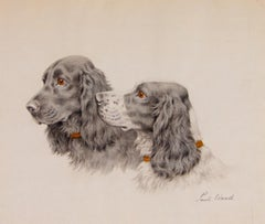 Two Cocker Spaniels Heads original pastel by Paul Wood