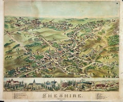 Birds Eye View of Cheshire Connecticut  1882 lithograph pub. by O. H. Bailey