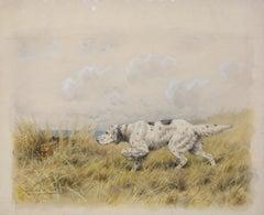 English Setter Hunting Rabbit original watercolor by Paul Wood