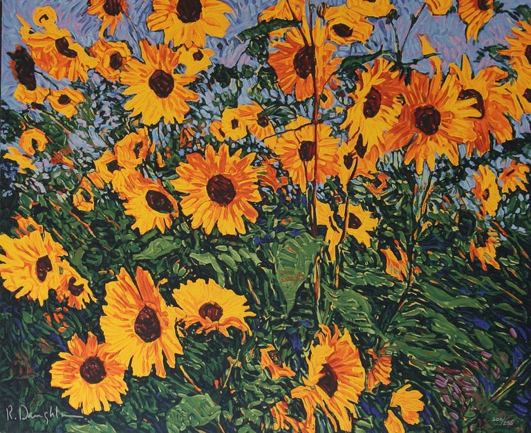 Wild Sunflowers by American impressionist Robert Daughters. A limited edition ( 205/255) serigraph with deckle edges floating on a dark blue mat with a 1/2 inch brown wood fillet and a green top mat and a brown 2 3/4 brown wood frame. Beautifully