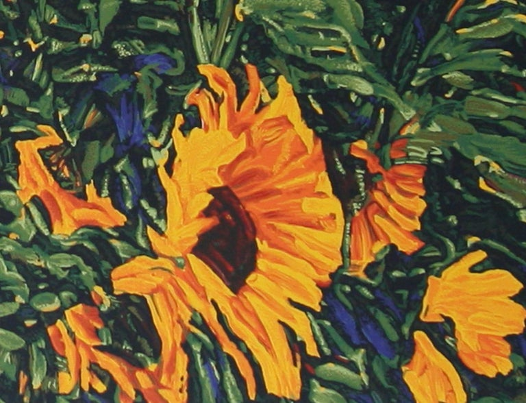 Wild Sunflowers original serigraph by Robert Daughters For Sale 1