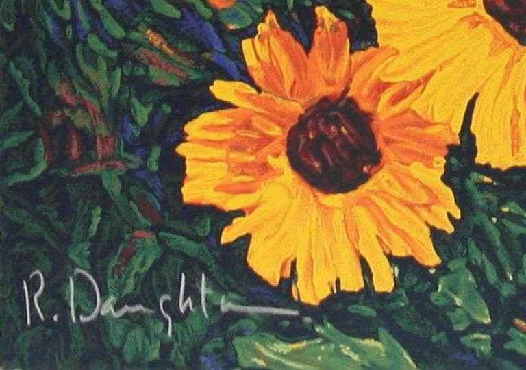 Wild Sunflowers original serigraph by Robert Daughters For Sale 2
