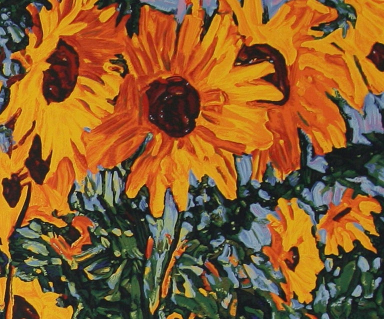 Wild Sunflowers original serigraph by Robert Daughters For Sale 4