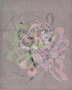 """""""On and On #13"""", delicate pastel colored organic, curvy abstract monoprint"""