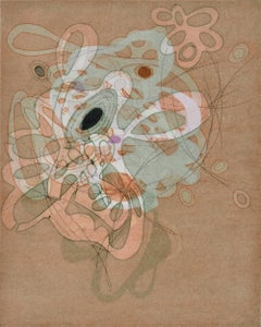"""""""On and On #15"""", delicate pastel colored organic, curvy abstract monoprint"""