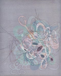 """""""On and On #18"""", delicate pastel colored organic, curvy abstract monoprint"""