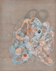 """""""On and On #20"""", delicate pastel colored organic, curvy abstract monoprint"""