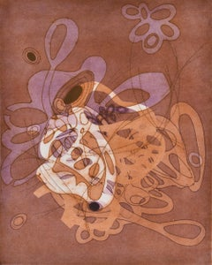 """""""On and On #21"""", Delicate pastel colored organic, curvy abstract monoprint"""