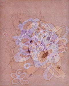 """""""On and On #25"""", delicate, pastel colored organic, curvy abstract monoprint"""