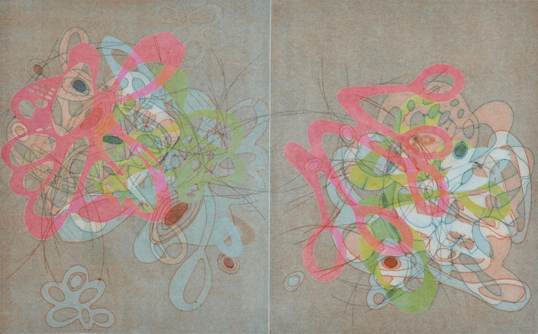 """Taiko Chandler Abstract Print - """"On and On #33"""", pastel colors, curvy abstraction, organic colorful print"""