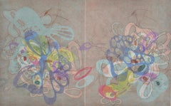 """""""On and On #36"""", pastel colors, curvy abstraction, organic colorful print"""