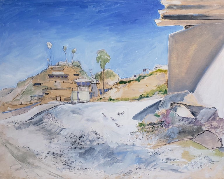 Neil Brooks conveys the essence of San Diego in his vibrant large-scale paintings. Starting with quick sketches on-site, he then develops ideas on large canvases stretched over his studio wall. He holds off on finishing his paintings for as long as