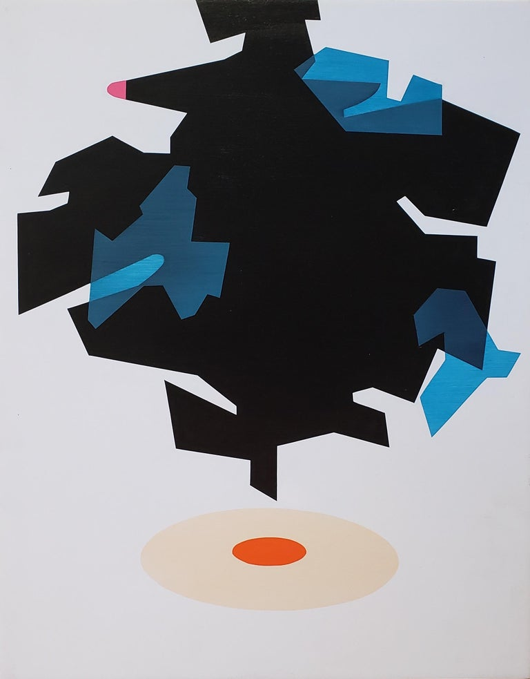 """""""Beacon,"""" by California artist Ernest Regua, juxtaposes the elements of color, line, and shape in a manner reminiscent of mid-century modern design. In the composition, a blue-black, pink-tipped ufo of sorts hovers over an orange bullseye - the"""
