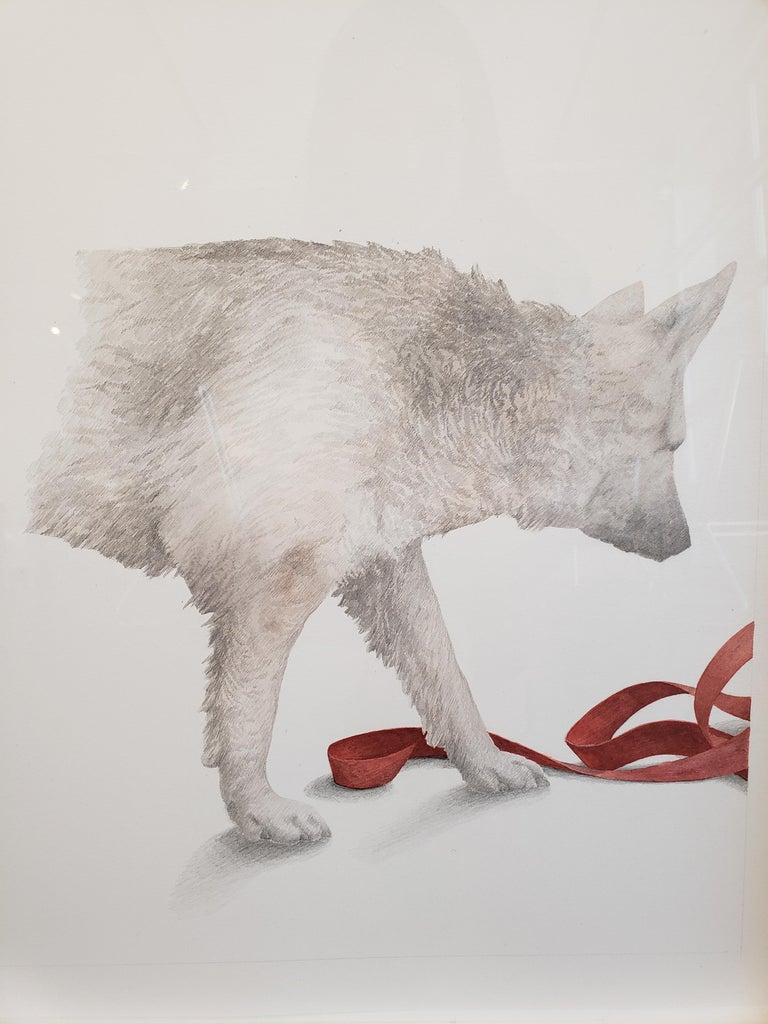 """Greg Murr combines painting and drawing in airy compositions that function as philosophical inquiries into the flux of the natural world. In """"With Ribbon,"""" Murr depicts a wolf inspecting a red ribbon, which unfurls on the right side of the"""