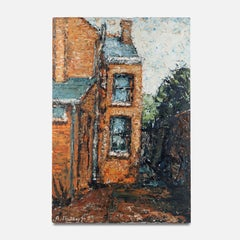 20th Century Oil on Board Painting of a Red Brick House by A. Mackay