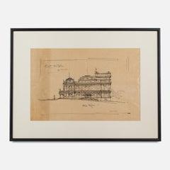 Architectural Sketch by Italian Architect Arturo Viligiardi (1869 - 1936)