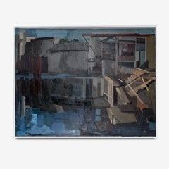 Large Oil on Canvas of an Industrial Landscape titled 'La Barrage'