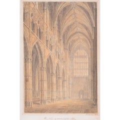 John Chessell Buckler 1810 Westminster Abbey Nave watercolour London Britain