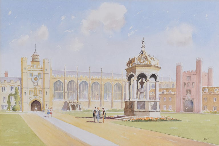 Derek Abel Trinity College Cambridge Great Court watercolour University England - Art by Derek Abel