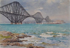 Forth Bridge and Fife Coast by EW Haslehust Scotland, published watercolour