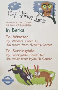 1936 Original London Transport Poster Betty Swanwick Green Line to Berkshire UK