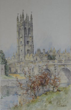 Magdalen College from the Cherwell, Oxford watercolour c. 1920 University art