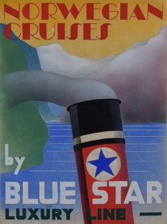 1930s Design Advertising Art Deco Poster Design Norwegian Cruises Blue Star Line