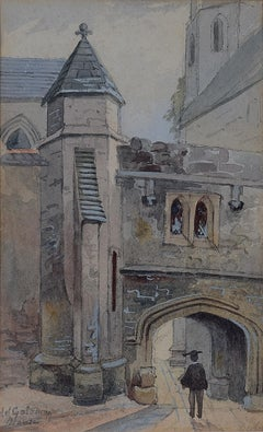 Old Gateway, Merton College Oxford watercolour with academic c. 1900
