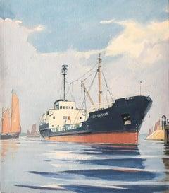 Laurence Dunn ESSO Brixham tanker gouache painting maritime art ship boat
