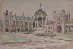 Great Court, Trinity College Cambridge Watercolour painting art J V C Anthony