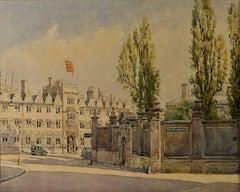 Bernard Cecil Gotch View of Oriel College Oxford from Bear Lane watercolour