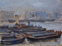 Pool of London Ron Whittenbury Modern British Art Oil Painting Thames Shipping
