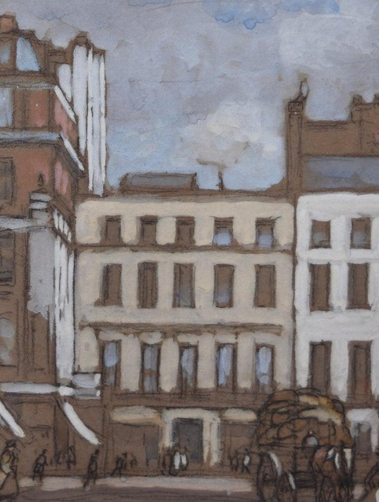 Horace Mann Livens Hanover Square London gouache painting 1920 Edwardian - Impressionist Art by Horace Mann Livens