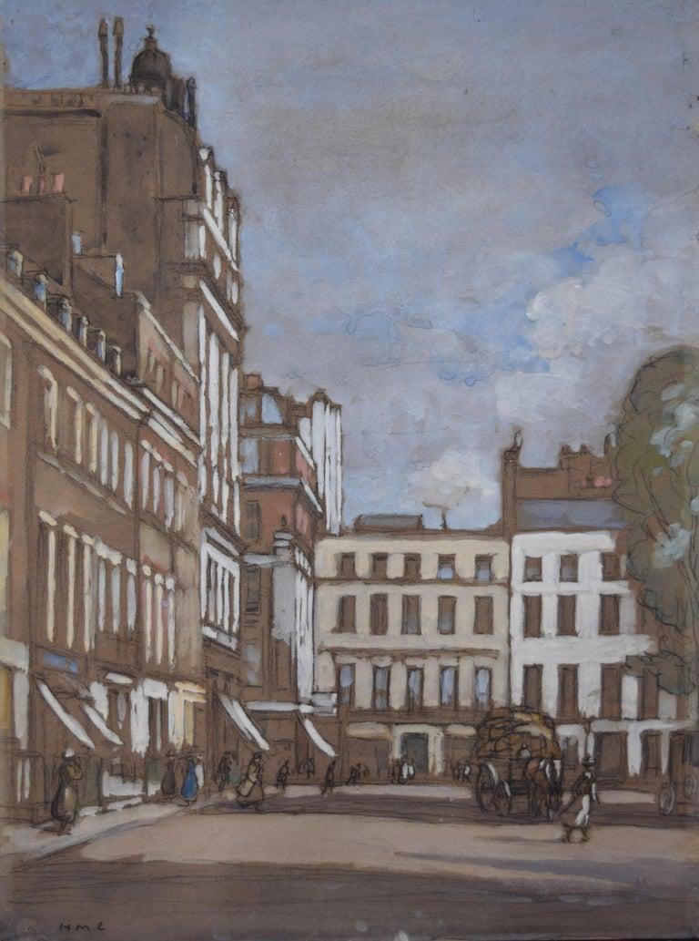 Horace Mann Livens Hanover Square London gouache painting 1920 Edwardian - Art by Horace Mann Livens