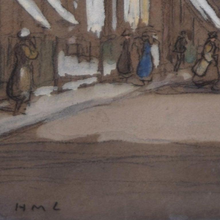 Horace Mann Livens Hanover Square London gouache painting 1920 Edwardian - Gray Landscape Art by Horace Mann Livens