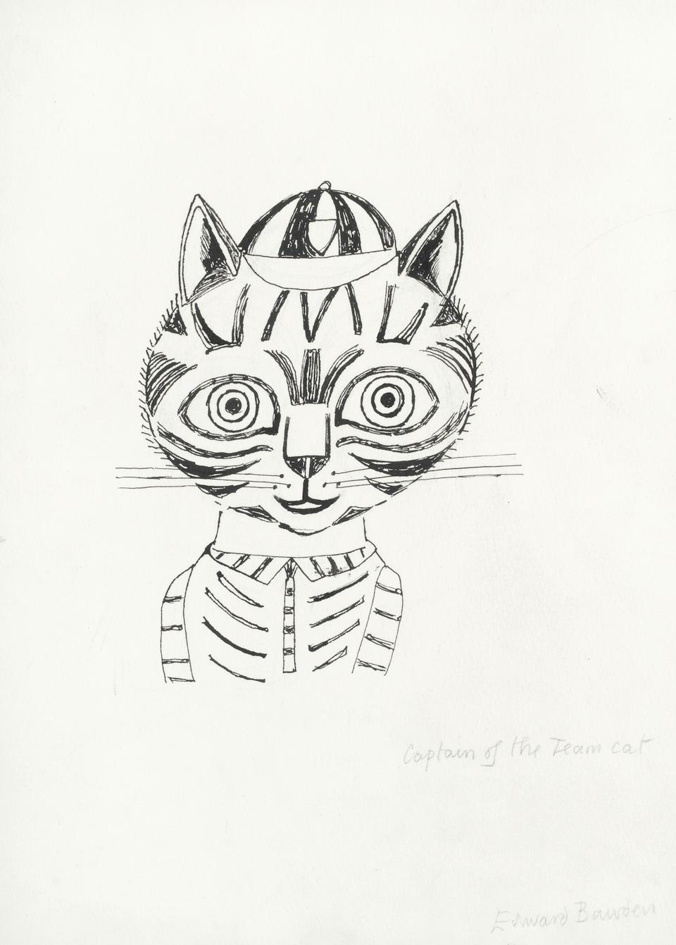Edward Bawden drawing 'Captain of the Team Cat' pen and ink Modern British Art