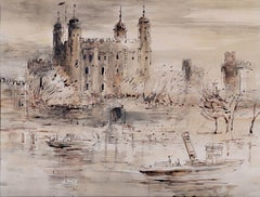 The Tower of London by Violet Hilda Drummond watercolour Modern British Art