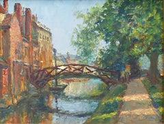 Piero Sansalvadore Queens' College Cambridge oil painting River Cam Mathematical