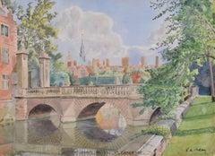 St John's College Cambridge Wren Bridge watercolour Major FA Molony