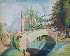 King's College Cambridge River Cam 1920s Art Deco Jazz Age watercolour art