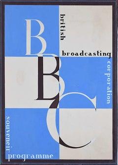 c. 1930s BBC Souvenir Programme Art Deco design gouache poster cover