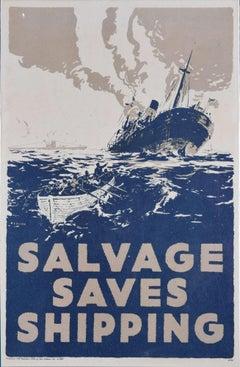 Salvage Saves Shipping World War II propaganda poster recycling environment