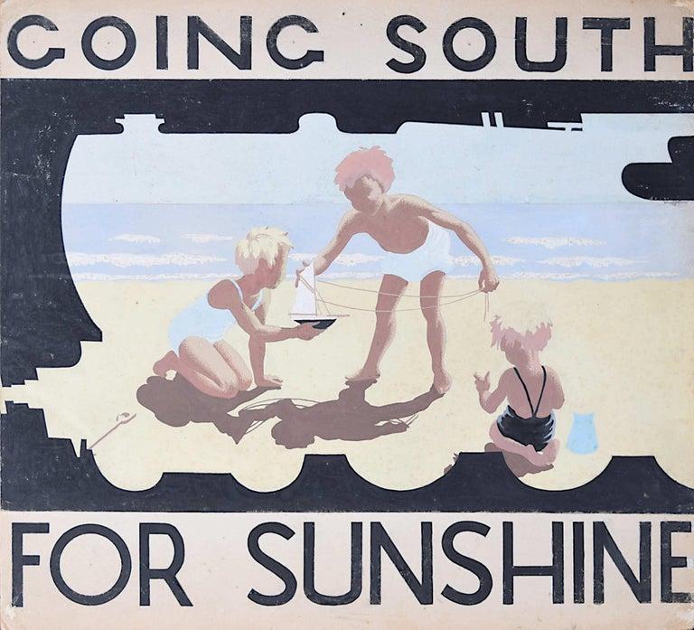 Unknown Landscape Art - 1930s Original Gouache Design for Railway Poster Going South for Sunshine Beach