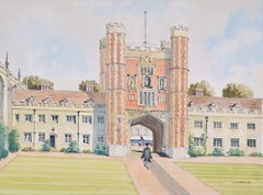 Trinity College Cambridge Great Court watercolour by J T Neville