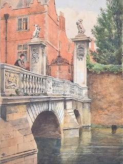 St John's College Cambridge Edwardian watercolour Wren Bridge River Cam c. 1900