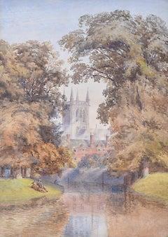 St John's College Cambridge University watercolour The River, Scholars Before