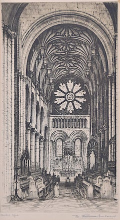 Christ Church Cathedral Oxford etching E W Sharland print College University