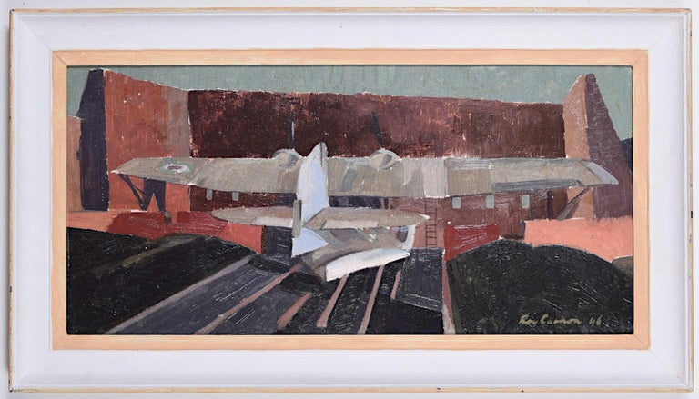 Derelict Catalina Flying Boats Roy Carnon oil painting Redhills Lake near Madras - Painting by Roy Carnon